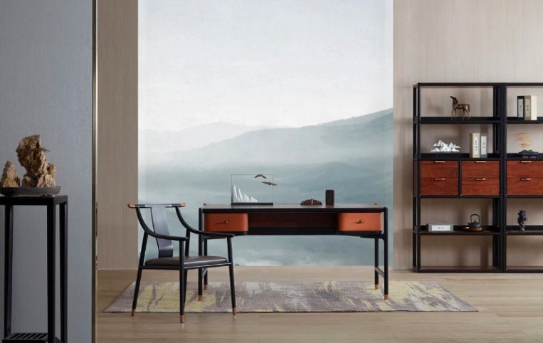 A desk set with wall unit in front of mountain wallpaper
