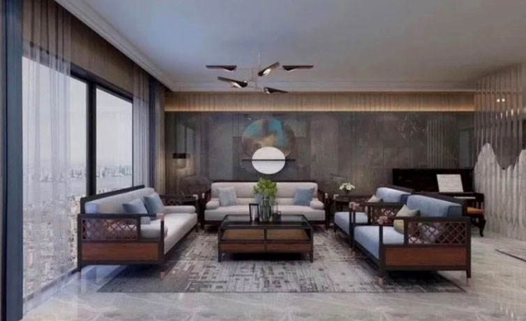 Oriental Casa A luxury living room with view of the city