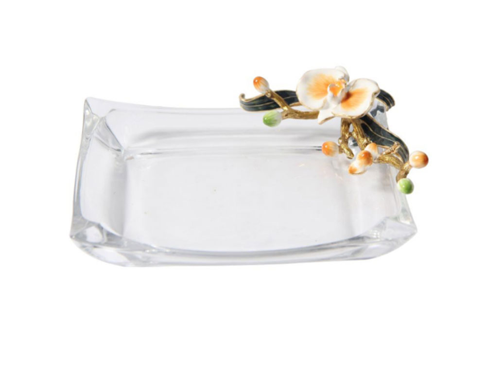 Glass Dish With Flower - SM - N-B00112