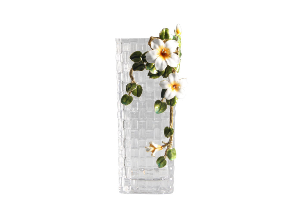 Square Glass Vase With Flower - N-H0227