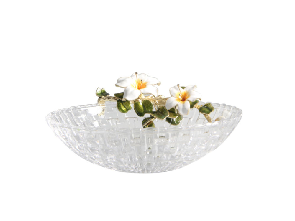 Glass Bowl With Yellow Flower - N-H0228