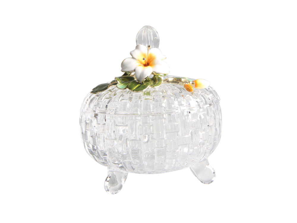 Glass Dish With Yellow Flower - N-H0229
