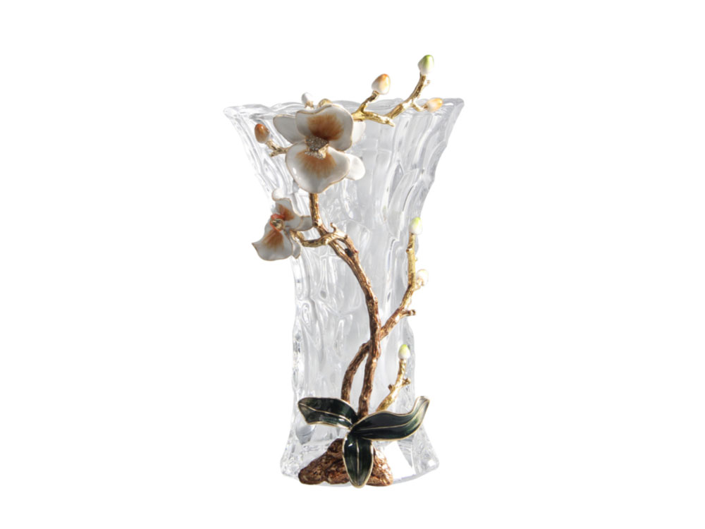 Tall Glass Vase With Flower - N-H0232