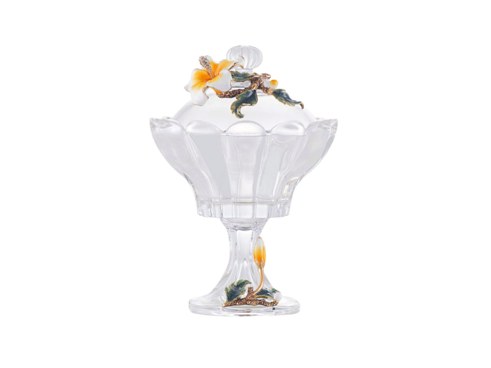 Glass Jar With Flower Lid - N-H0261