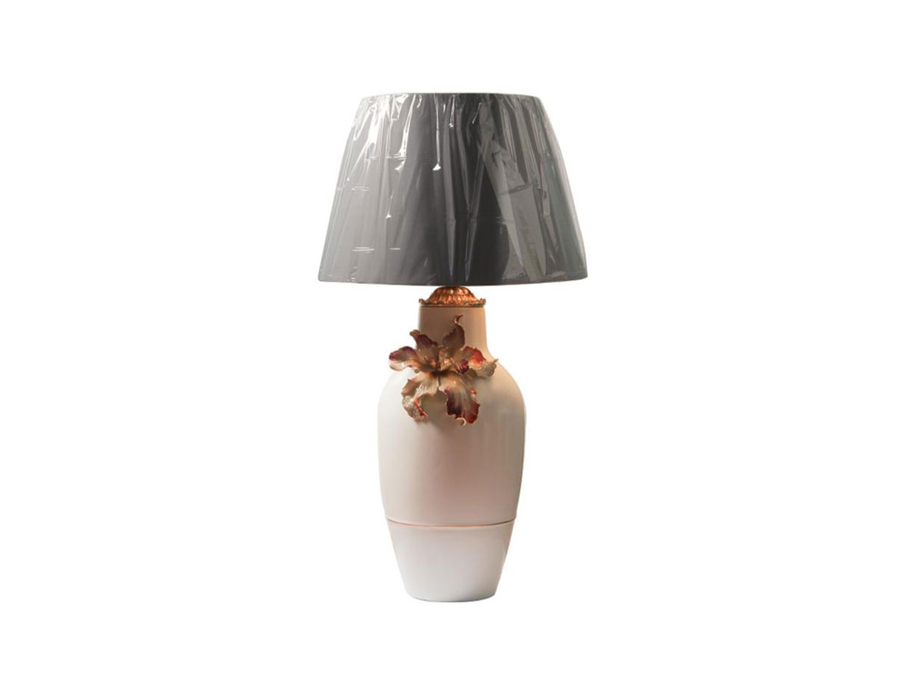 Table Lamp Cream Base With Flower - N-H0296